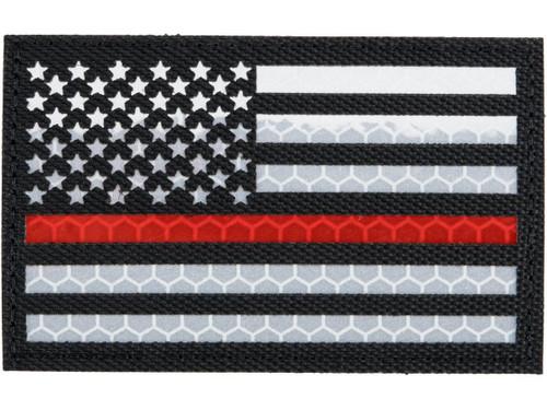 Matrix Reflective Thin Red Line US Flag Patch w/ Nylon Bordering (Color: Black / Left)