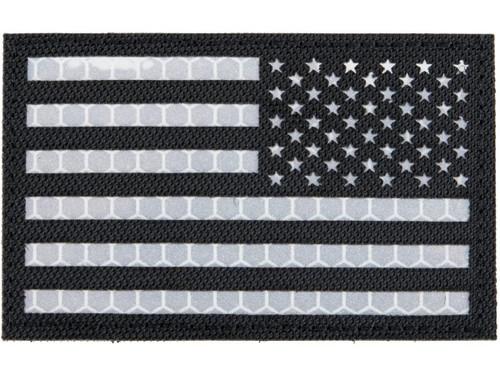 Matrix Reflective US Flag Patch w/ Nylon Bordering (Color: Black / Right)