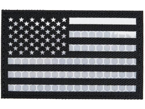 Matrix Reflective US Flag Patch w/ Nylon Bordering (Color: Black / Left)