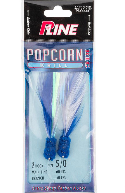 P-Line Popcorn Krill 2 Hook Fishing Rig (Color: Blue-White / 5/0)