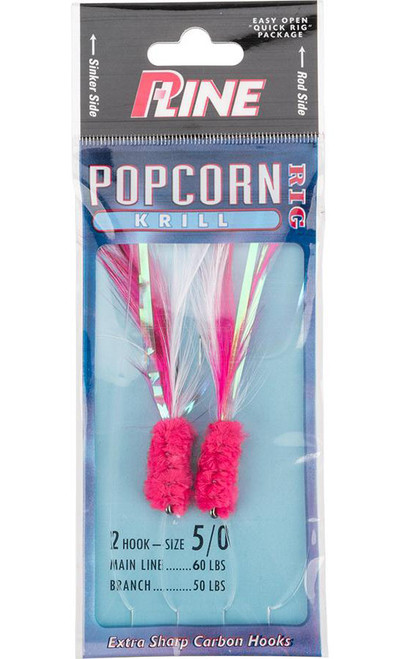 P-Line Popcorn Krill 2 Hook Fishing Rig (Color: Pink-White / 5/0)