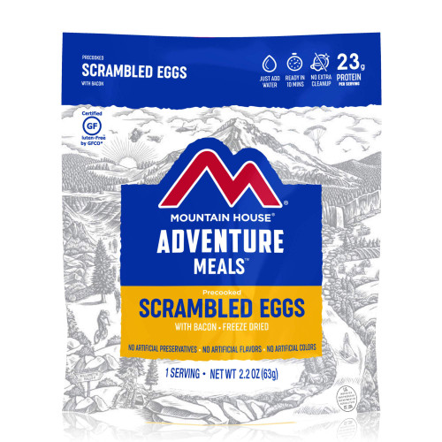 Mountain House Freeze Dried Camping Food - Scrambled Eggs and Bacon