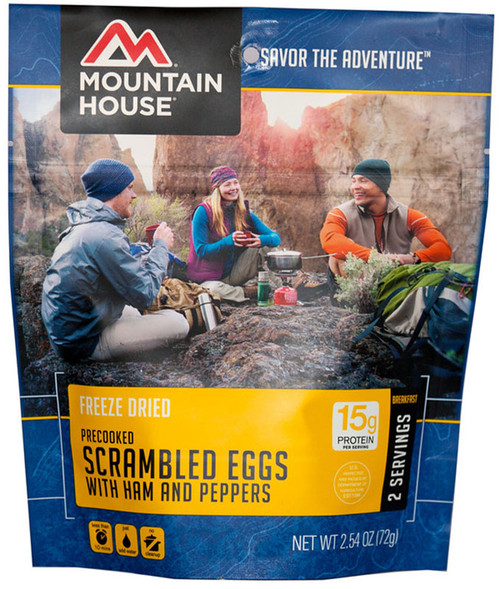 Mountain House Freeze Dried Camping Food - Scrambled Eggs with Ham and Peppers
