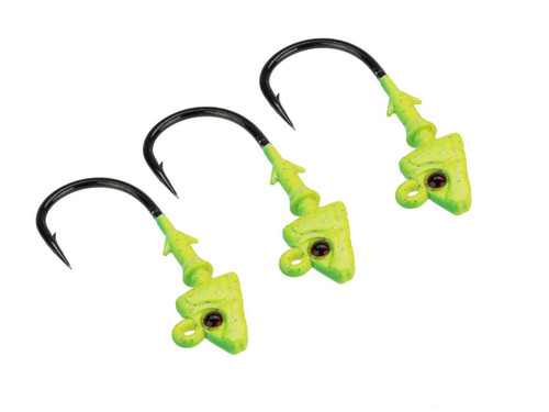 Mustad Shad/Darter Head 1/8 OZ 2X Strong - Pack of 3 (Color: Chartreuse UV with Red Eyes / Size 1/0)