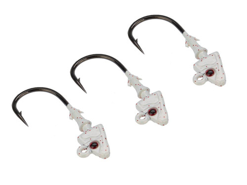 Mustad Shad/Darter Head 1/8 OZ 2X Strong - Pack of 3 (Color: Pearl UV with Red Eyes / Size 1/0)