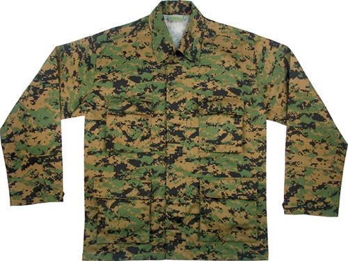 Kid's Rothco BDU Shirt - Woodland Digital  Camo