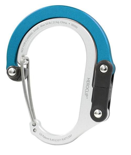 Heroclip Adjustable Swivel Carabiner Clip + Hanger (Size: Small / Blue Steel)