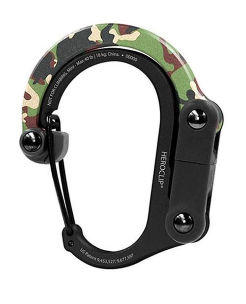 Heroclip Adjustable Swivel Carabiner Clip + Hanger (Size: Mini / Woodland Hero)