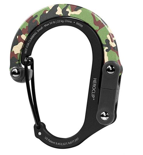 Heroclip Adjustable Swivel Carabiner Clip + Hanger (Size: Small / Woodland Hero)