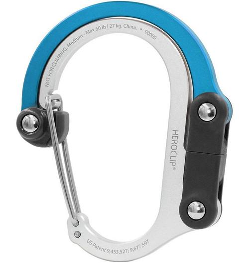 Heroclip Adjustable Swivel Carabiner Clip + Hanger (Size: Medium / Blue Steel)