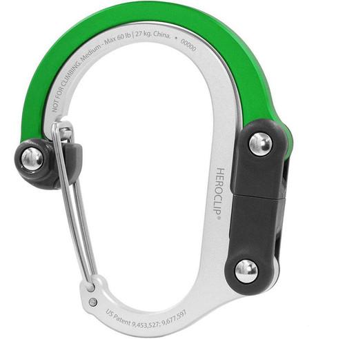 Heroclip Adjustable Swivel Carabiner Clip + Hanger (Size: Medium / Green Machine)