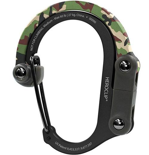 Heroclip Adjustable Swivel Carabiner Clip + Hanger (Size: Medium / Woodland Hero)