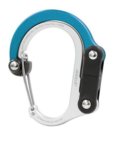 Heroclip Adjustable Swivel Carabiner Clip + Hanger (Size: Mini / Blue Steel)