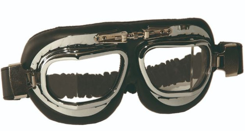 British Raf Style Chrome Aviator Goggles