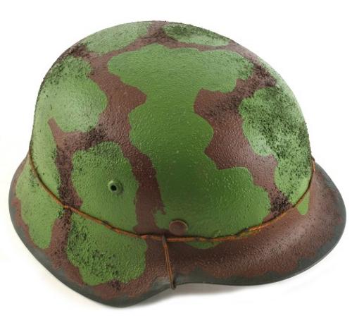 GERMAN WW2 M35 Steel Helmet Green Brown Camouflage with texture wire