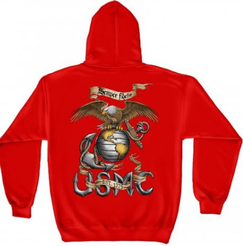 "USMC ""Semper Fidetis - Red"" Hooded Sweat Shirt"