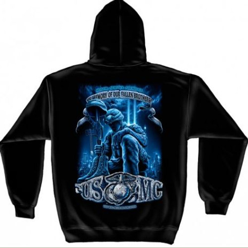 """USMC """"In Memory Of Our Fallen Brothers"""" Hooded Sweat Shirt"""