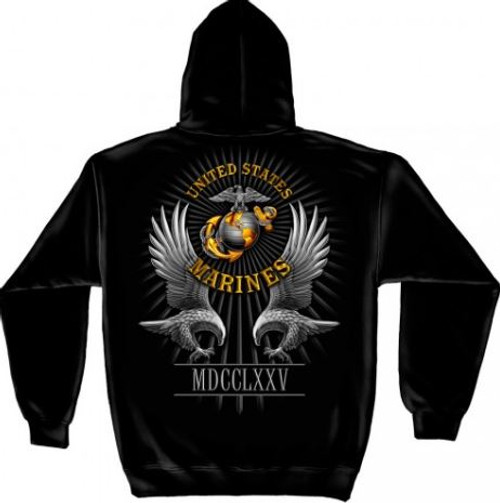 """USMC """"Founded In 1775"""" Hooded Sweat Shirt"""