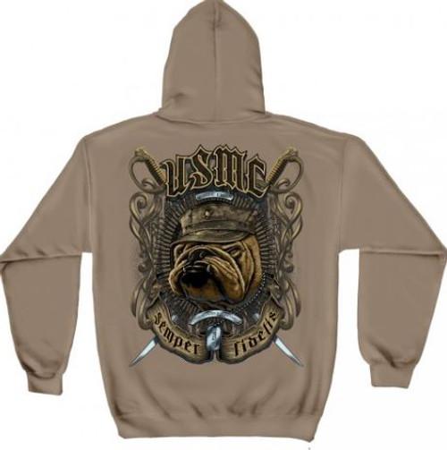 "USMC ""Bull Dog"" Hooded Sweat Shirt"