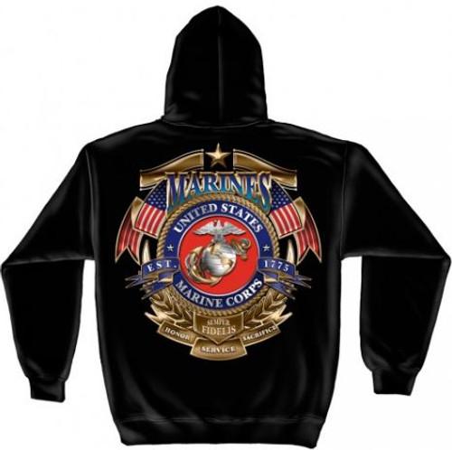 "USMC ""Honor Service Sacrifice"" Hooded Sweat Shirt"