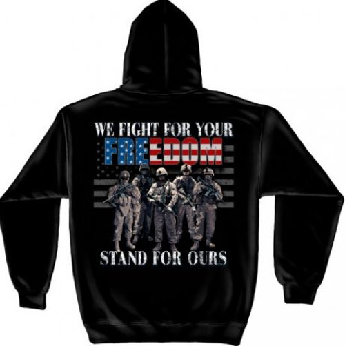 """US Veteran """"Fight For Our Freedom"""" Hooded Sweat Shirt"""