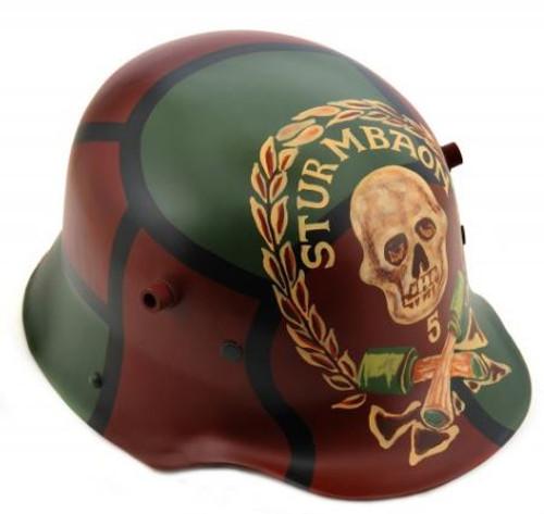 German WW1 M1916 1916 Steel Helmet Stormtrooper Sturmtruppen #5 Cammo Pattern with Skull, Wreath and Crossed Grenades Large