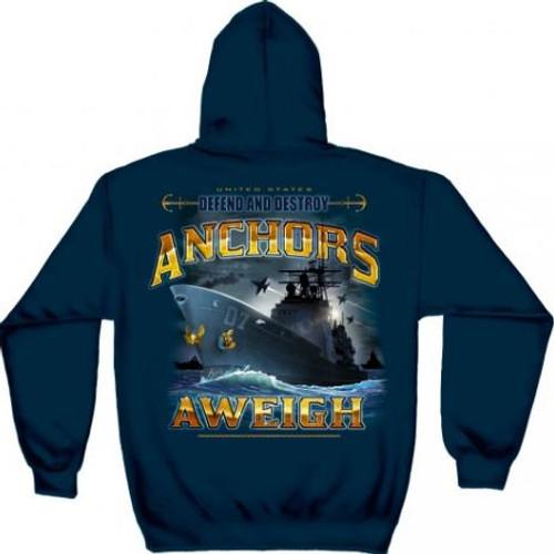 "US Navy ""Anchors Aweigh"" Hooded Sweat Shirt"