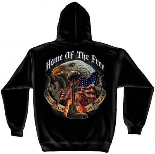 """US Veteran """"Home Of The Free Because Of The Brave"""" Hooded Sweat Shirt"""