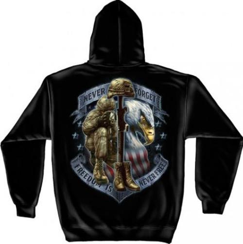 "US Veteran ""Freedom Is Never Free"" Hooded Sweat Shirt"