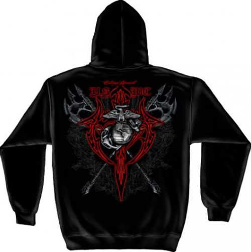 """USMC """"Axes Red Tribal"""" Hooded Sweat Shirt"""