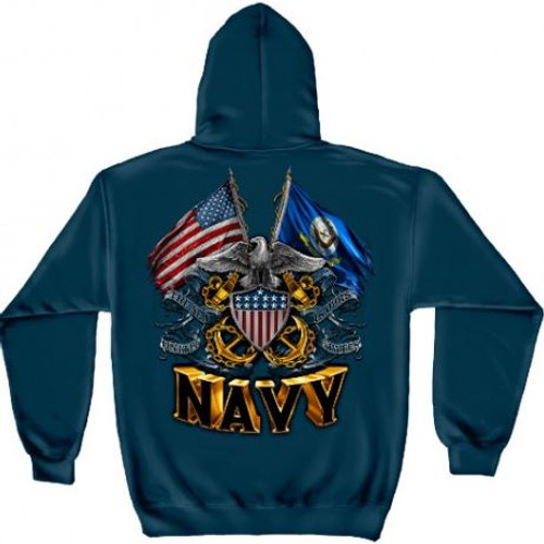 """US Navy """"Eagle With Double Flags"""" Hooded Sweat Shirt"""
