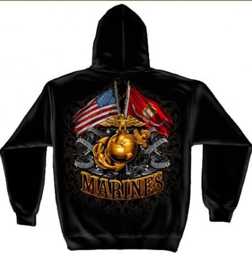 "USMC ""Gold Globe"" Hooded Sweat Shirt"