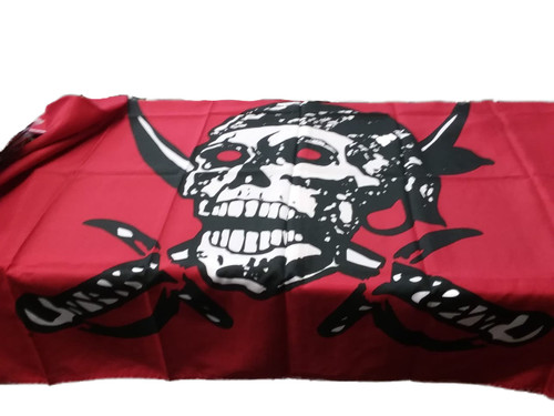 Skull & Crossbones Flag   3' x 5'   - Black on Red