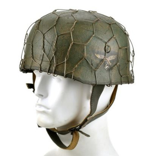 German Paratrooper Helmet With Correct Period Chickenwire