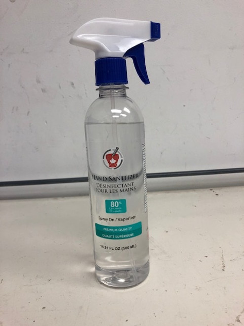 Spray-On 80% Ethanol Hand Sanitizer - 500 ml - Canadian Made
