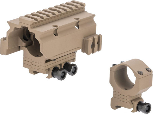 G&P 30mm Height Adjustable Sniper Scope Mount w/ Railed Hood for Rifle Scopes (Color: Sand)