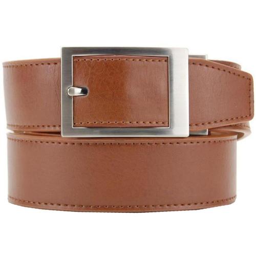 "NexBelt PreciseFit ""Classic"" Micro Adjustment Ratcheting Leather Dress Belt (Color: Walnut w/ Chrome Buckle)"