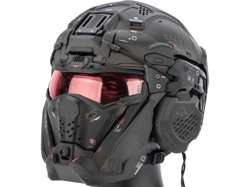 SRU SR Tactical Helmet w/ Integrated Cooling System & Flip-Up Visor (Color: Black)