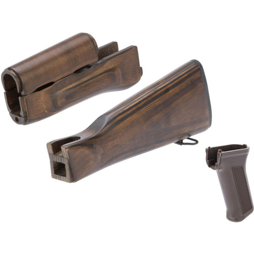 LCT Airsoft Wooden Stock and Grip Set for LCKM Series Airsoft Rifles (Color: Vintage)