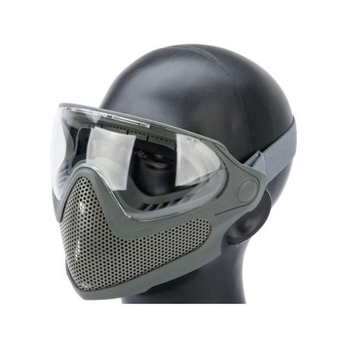 "6mmProShop ""Pilot"" Face Mask w/ Steel Mesh Lower Face Protection (Color: Foliage Grey)"