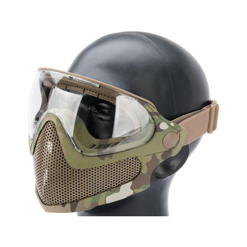 "6mmProShop ""Pilot"" Face Mask w/ Steel Mesh Lower Face Protection (Color: Multicam)"