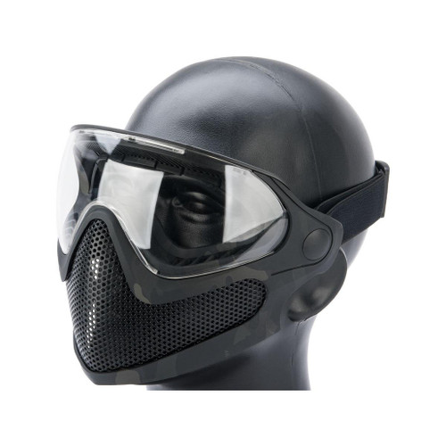 "6mmProShop ""Pilot"" Face Mask w/ Steel Mesh Lower Face Protection (Color: Multicam Black)"