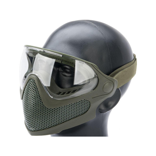 "6mmProShop ""Pilot"" Face Mask w/ Steel Mesh Lower Face Protection (Color: OD Green)"