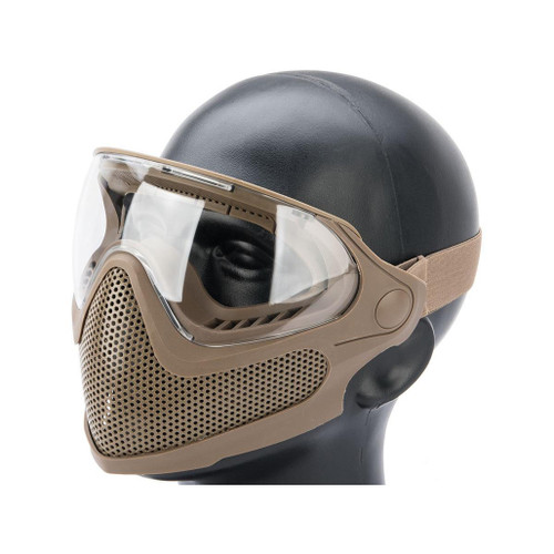 "6mmProShop ""Pilot"" Face Mask w/ Steel Mesh Lower Face Protection (Color: Tan)"