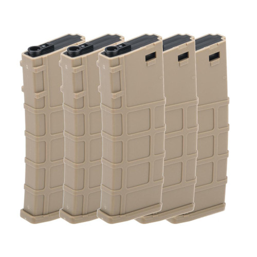 Lonex 200rd Mid-Cap Polymer Magazine for M4 M16 AEG Rifles (Color: Tan / Pack of 5)