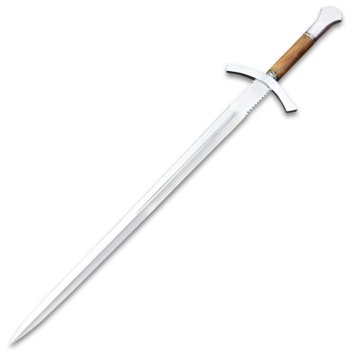 """Medieval Forester Sword With Scabbard - Stainless Steel Blade, Wooden Handle, Metal Alloy Guard And Pommel - Length 33"""""""