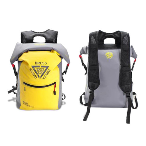 "DRESS ""AIR"" 25L Waterproof Roll-top Backpack (Color: Yellow & Grey)"