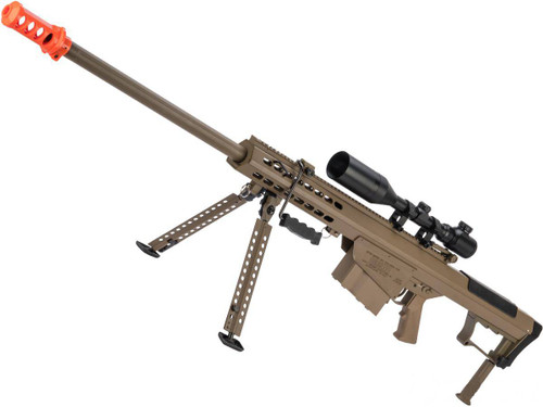 6mmProShop Barrett Licensed M107A1 Bolt Action Powered Airsoft Sniper Rifle (Color: Tan)