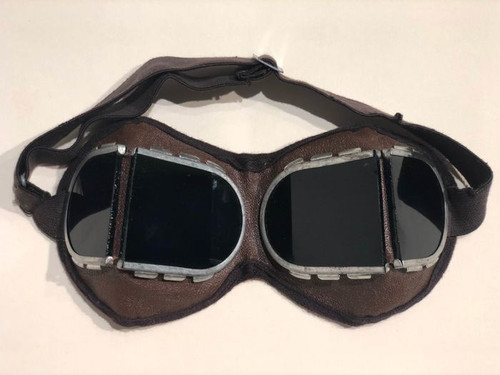 Russian Military Issue Split Glass Motorcycle Goggles - Dark Green