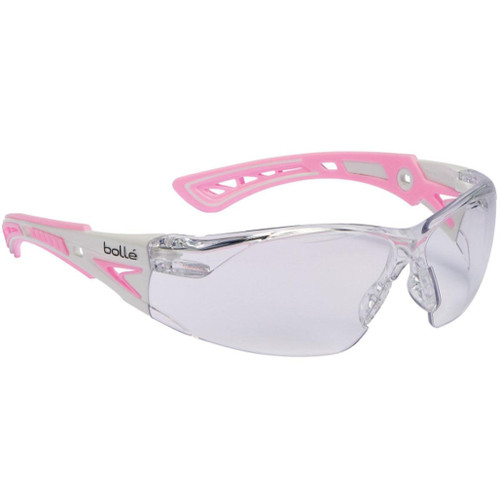 Bolle Safety RUSH+ Small Z87+ Safety Glasses (Model: Clear Lens / Pink & White Frame)